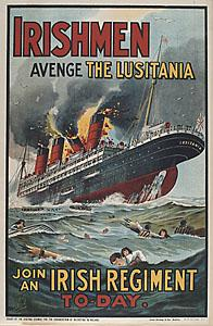 WWI Poster, Irishmen Avenge the Lusitania