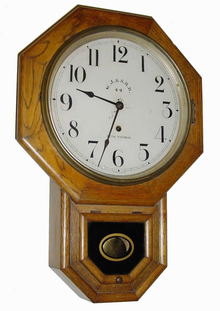Wall clock seth thomas drop octagon circa 1900 24 for Seth thomas wall clocks value