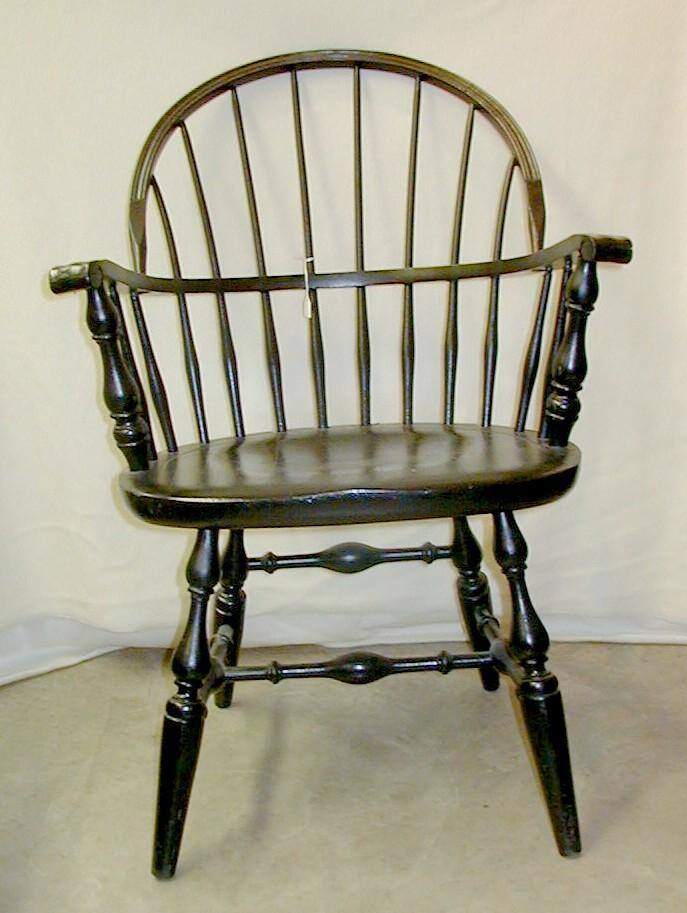 Furniture Windsor Chairs Arm 02 Bow Back Nichols Stone Black Paint Knuckle Arms