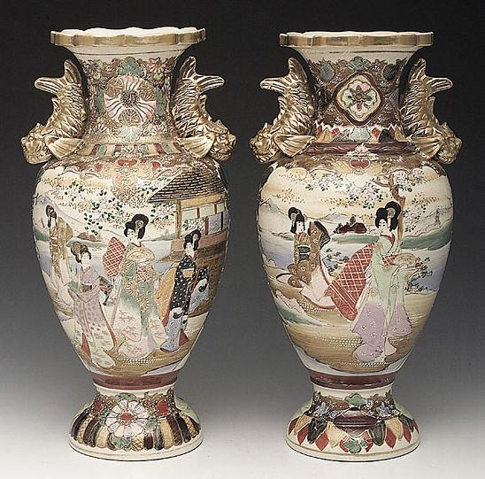 Satsuma Pottery Japanese Vase 2 Scenes Of Maidens Gilt Serpent Handles