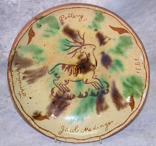 Jacob Medinger Pennsylvania Sgraffito decorated redware plate with deer decoration
