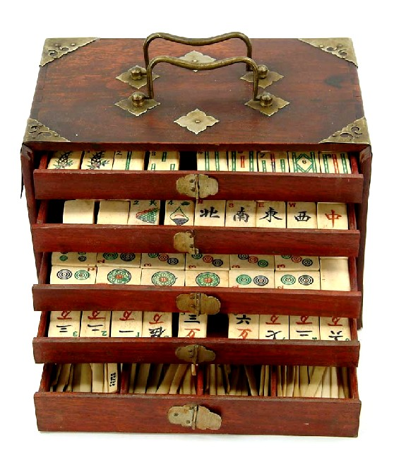 Mahjong Mahogany Case 5 Drawers Ivory Topped Tiles