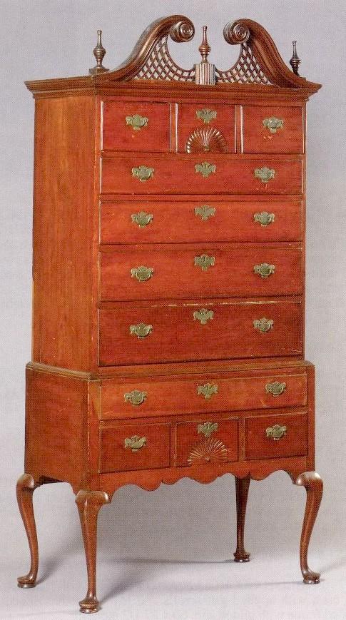 Furniture highboy queen anne cherry bonnet top swan 39 s neck - Queen anne bedroom furniture cherry ...
