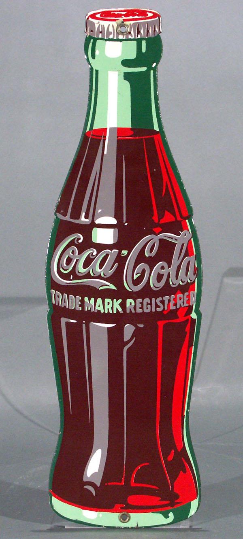 coca cola sign bottle form porcelain die cut 16 inch. Black Bedroom Furniture Sets. Home Design Ideas