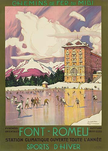A French travel poster for the resort town of Font-Romeu