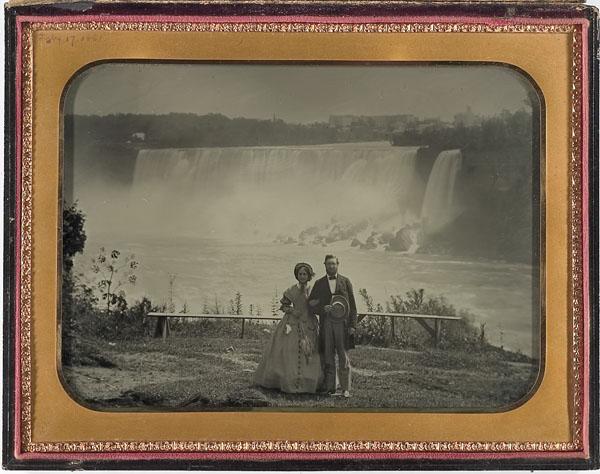 Full plate ambrotype of a honeymooning couple at Niagara Falls