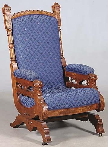 Furniture Chair Rocking Victorian Eastlake Walnut