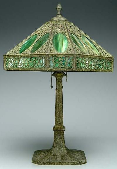 Table Lamp; Bradley & Hubbard?, Laurel, Overlay Shade, 27 ...
