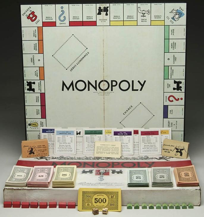 1933 Parker Brothers Monopoly game marked Chas. Darrow