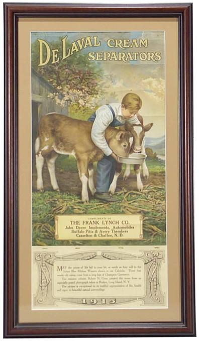 DeLaval Cream Separators 1915 calendar with illustration of farm boy feeding calves