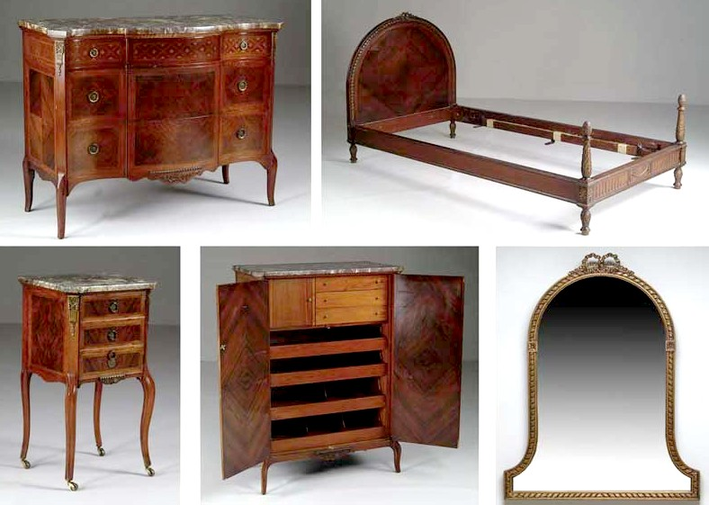 Furniture Suite Bedroom Louis Xv Xvi Style Slack Rassnick Co Rosewood Inlaid 6 Pieces