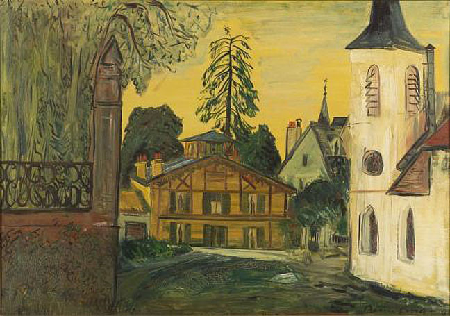 "An oil on canvas painting by Ludwig Bemelmans (1898 to 1962). <b><i>Marly Le Roy</i></b>, signed ""Bemelmans"" lower right, titled and dated ""...JUNE '57"" on the reverse."