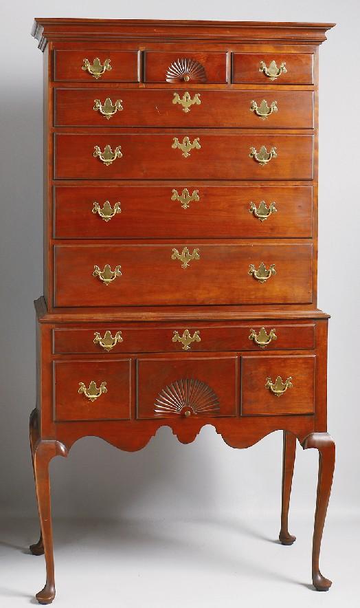 Furniture highboy queen anne style cherry eldred - Queen anne bedroom furniture cherry ...