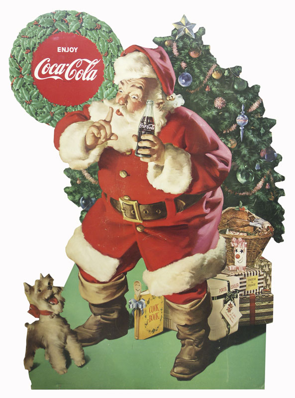 1950s Coca-Cola Santa Claus with dog cardboard cutout store display