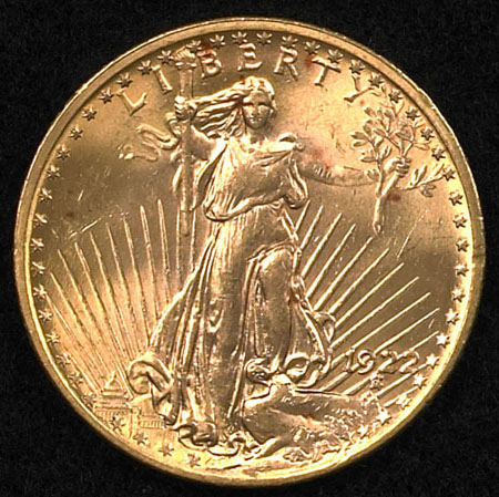 Gold Coin United States Standing Liberty Double Eagle 1922