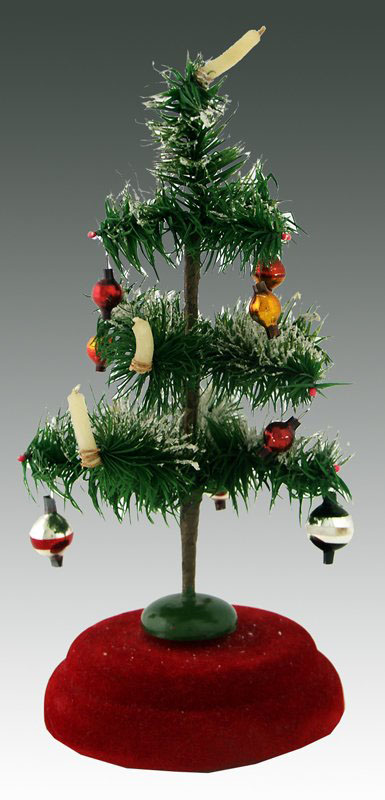 Feather Christmas tree on revolving musical stand