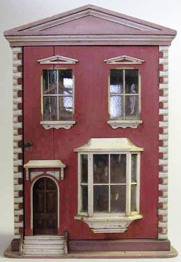 2 Story Doors : Dollhouse wood story bay window arched door paint