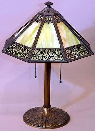 Table Lamp Bradley Amp Hubbard Slag Glass Shade Octagonal 19