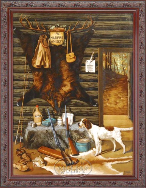 Hunting Cabin Interior Do It Yourself Hunting Cabins: Advertising-Whiskey; Harper, Sign, Hunting Cabin Interior