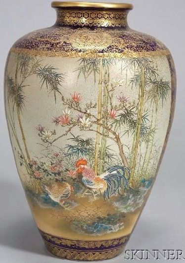 Satsuma Pottery Japanese Kinkozan Vase Roosters Amp Ducks 16 Inch