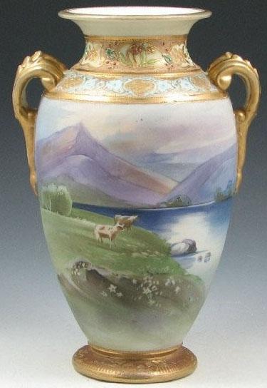 Nippon Porcelain Vase Landscape With Cows Green Mark 8