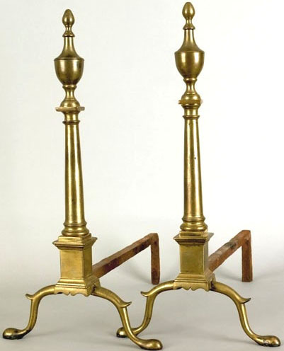 Pair of Federal brass andirons stamped R Wittingham N York