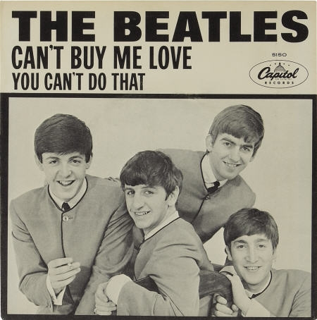 "The Beatles ""Can't Buy Me Love"" 45 with picture sleeve (Capitol 5150, 1964)."