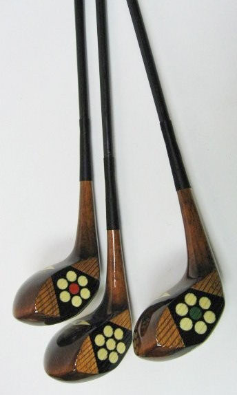 McGregor Chieftain golf clubs, set of 3 swan neck fancy face woods, circa 1929