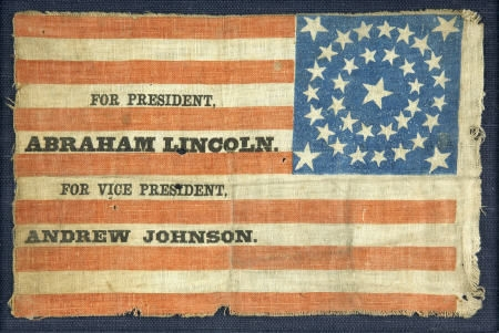 Abraham Lincoln & Andrew Johnson 1864 campaign flag. Unusual style with stars in the upper right-hand quadrant