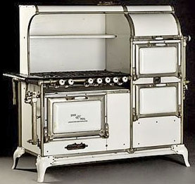 Quick Meal, six-burner enamel stove, manufactured by The American Stove Co., St. Louis, Mo., circa 1920 to 1925