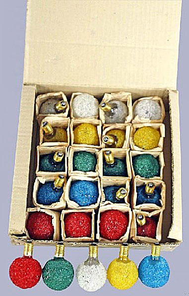 Frosted crush glass snowball Christmas lights, circa 1950s