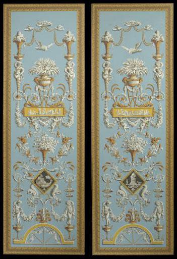 Decorative Wallpaper Panels : Wallpaper zuber jean cie decor caryatides bleu