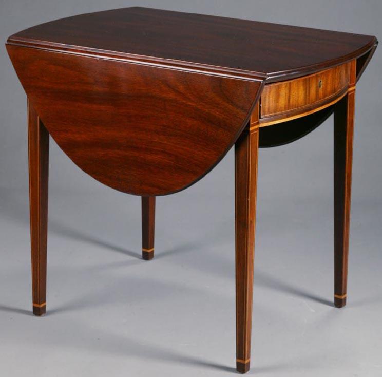 Furniture Table Pembroke Federal Style Kittinger Colonial Williamsburg Mahogany Demilune