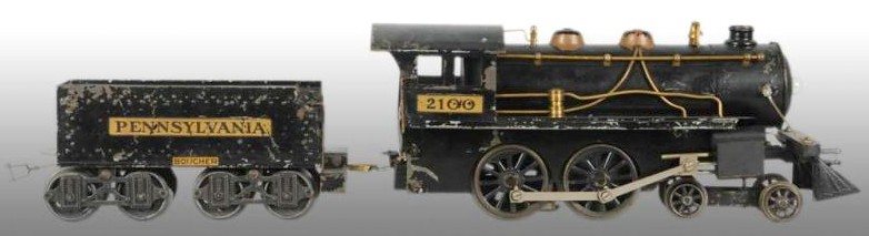 Boucher Steam Locomotive & Tender, No. 2100 pre-war 2-inch gauge locomotive and Pennsylvania RR tender