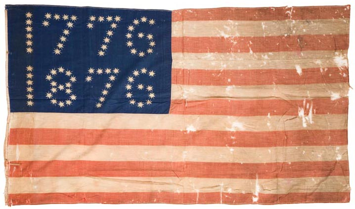 "American Centennial flag, circa 1876, wool, printed and machine sewn, with ""1776 1876"" in the canton"