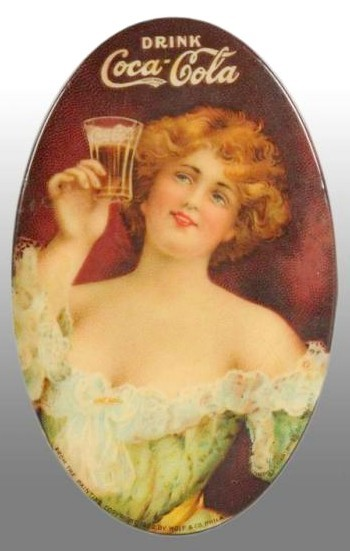 1907 Coca-Cola pocket mirror, woman raising glass, from the painting by Wolf & Company