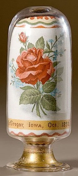 Andrew Clemens folk art sand bottle with rose over McGregor, Iowa, Oct. 1892 caption