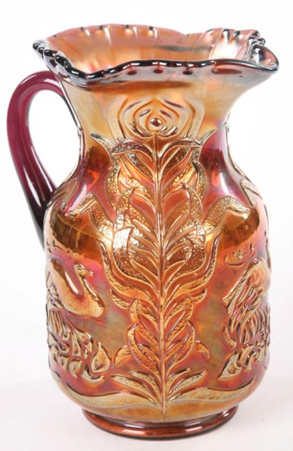 Fenton Carnival glass amethyst pitcher, Fluffy Peacock pattern