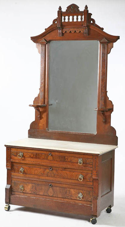 Furniture Dresser Victorian Eastlake Walnut Shaped Crest Mirror Marble