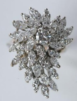 Ring 14k white gold waterfall 48 diamond cluster for Waterfall design ring