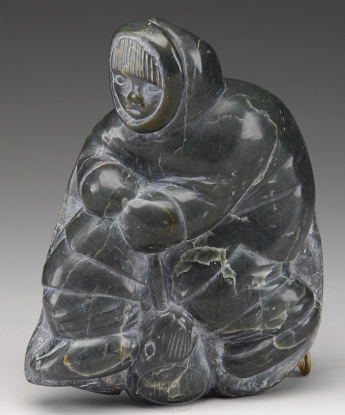 Inuit Eskimo Soapstone Carving Hunter Seal 1960: Carving; Inuit, Tukai (Salaisie), Soapstone, Eskimo