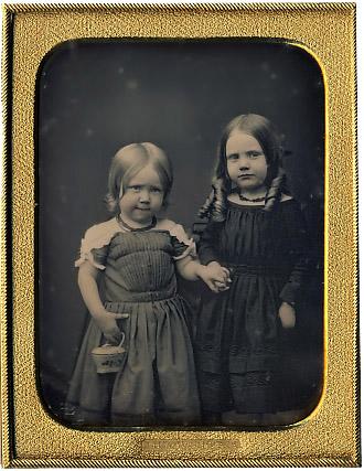 Jesse Harrison Whitehurst quarter-plate daguerreotype of two little girls holding hands