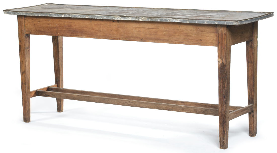 Furniture table farm country pine rectangular tin tray top for Table 52 prices