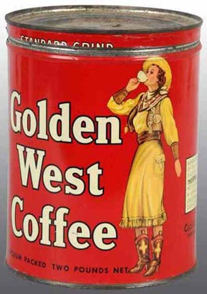 Golden West Coffee tin canister by the Chosset and Deavers Company, with cowgirl image