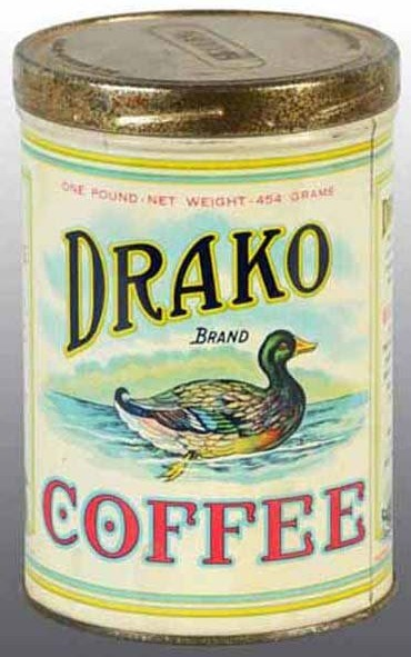 Drako Brand Coffee tin canister with Mallard duck graphic on front and back by Drake and Company