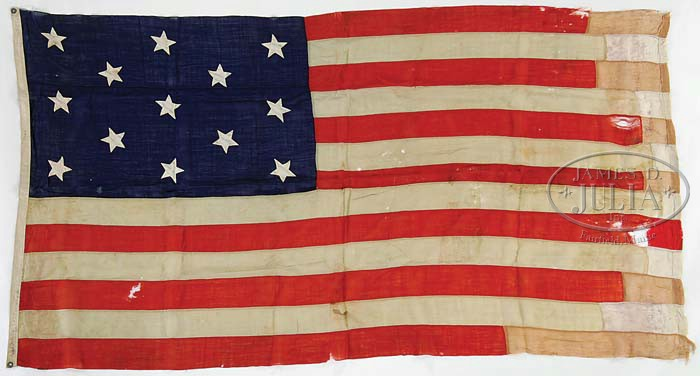 A 13 star American Navy flag with hand-sewn stars belong to Anna Rowell Philbrick Decatur wife of Stephen Decatur