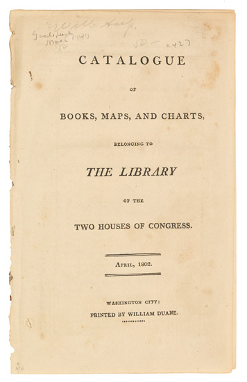 The first catalogue of the Library of Congress