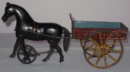 "Ives cast iron walking horse drawn ""Victory"" cart, circa 1890"