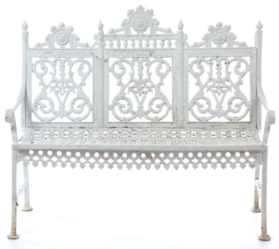 A Renaissance Revival cast iron bench, probably Kramer Brothers, Dayton, Ohio, late 19th to early 20th century