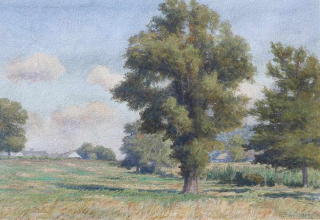 Richard B. Gruelle watercolor painting, spring landscape with trees